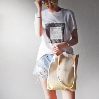 Champagne yellow gradient satin dyed (with round rope strap) - hand dyed tote bag