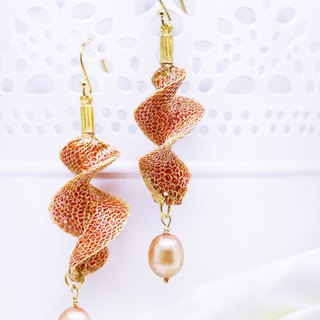 Edith & Jaz • Freshwater Pearl Twist Earrings – Orange Gold Color
