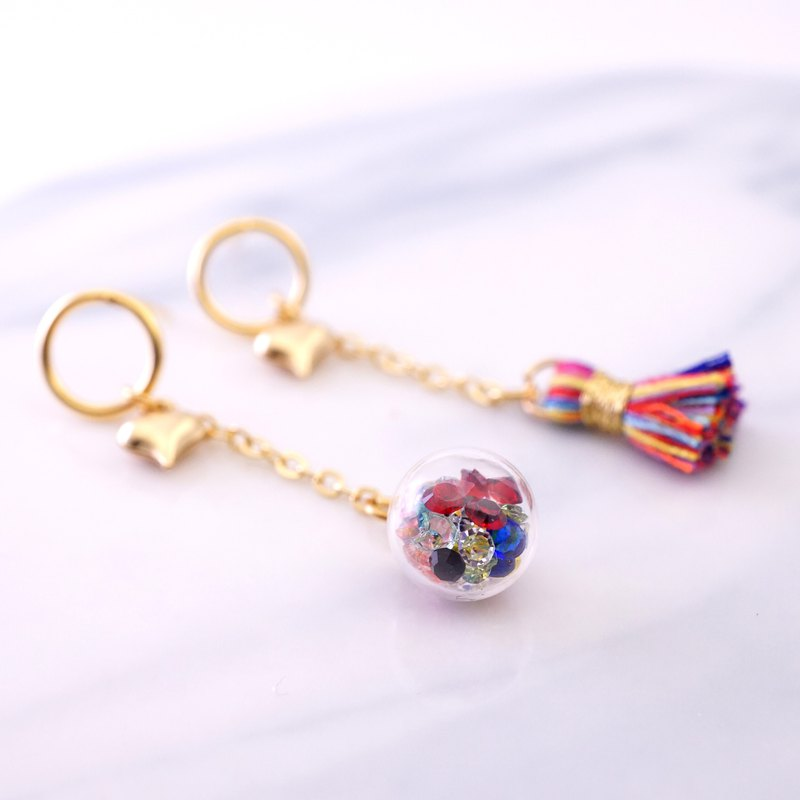 Rainbow Color Tiny Tassel and Glass Ball with Heart  Earrings