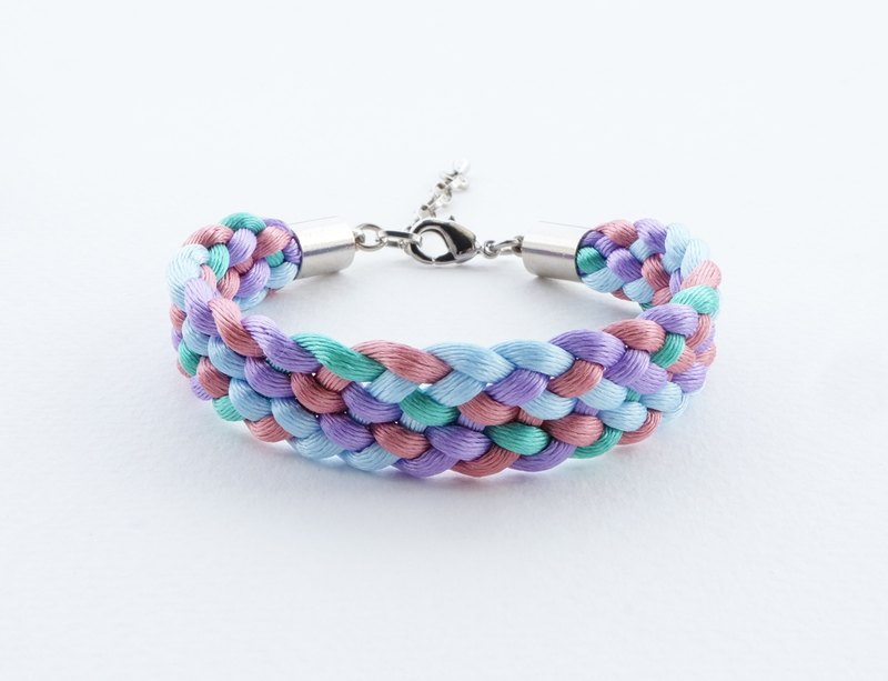 Purple/blue/pink/green Braided bracelet