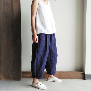 Fat low-grade eight-pants pants linen dark blue