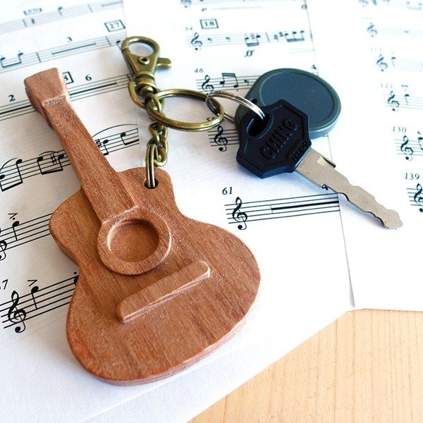 [Musical Instrument Series] Guitar Key Ring Guitar // Cherry Wooden Key Ring Pendant Charm