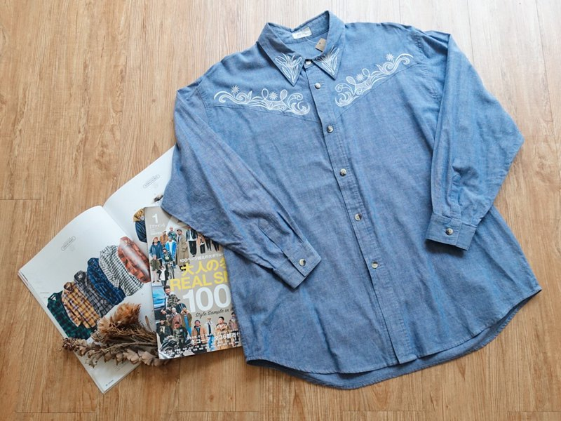 Vintage on / cotton long-sleeved shirt no.67 tk