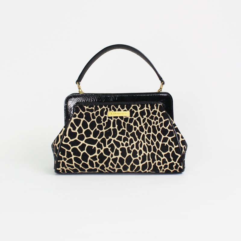 Italian leopard-print leather hand bag