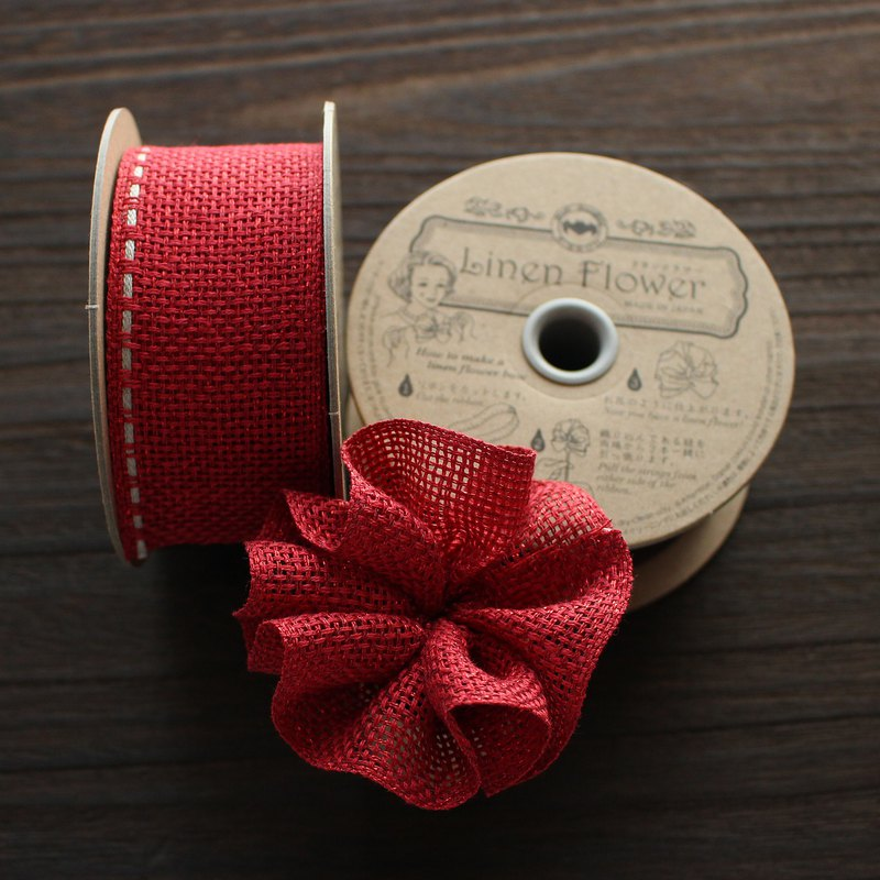 40mm width No,1176-40mm/#47 Red rame Linen Flower Ribbon sold by 5m(1Roll)