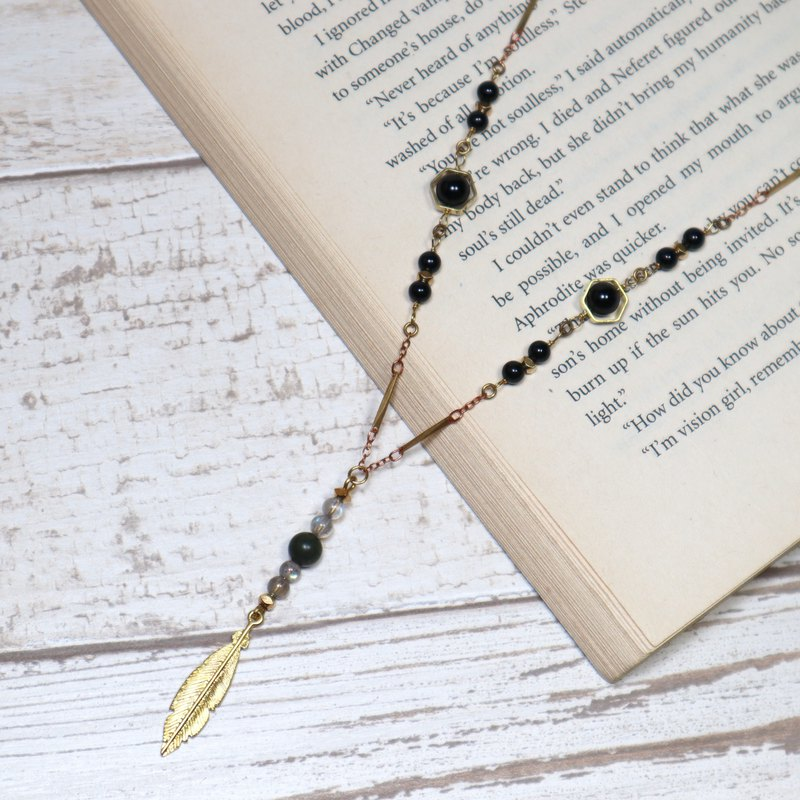 Feather Y-chain brass necklace Labradorite / Laotai jade / black agate brass