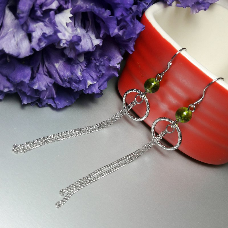 Green Peridot 925 sterling silver hanging hook tassel earrings light luxury jewelry series