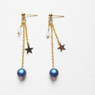 Rosy Garden golden stars dark blue cotton pearl earrings