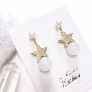 Little little star white Agate Non allergic earrings
