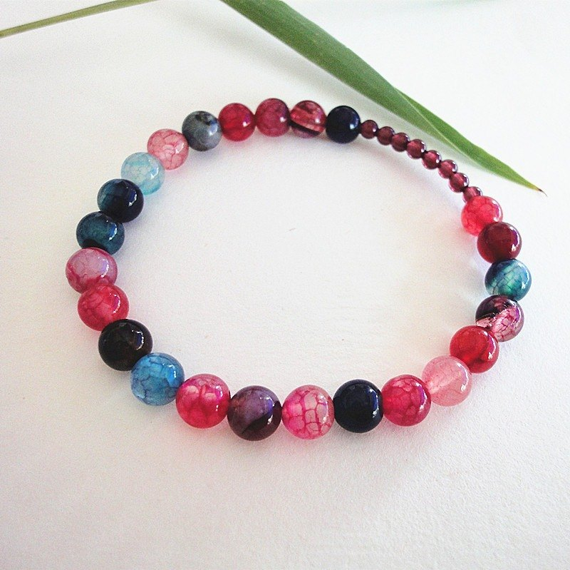 Colorful life - natural chalcedony agate bracelet