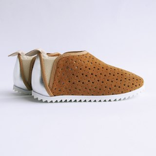 Beven Smiley. V series full leather children's shoes - tunnel section - brown earth (slippers / lazy shoes)