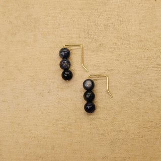 String Series Brass Soda Stone Dangling Earrings Ear Pins Without Pierced Ears
