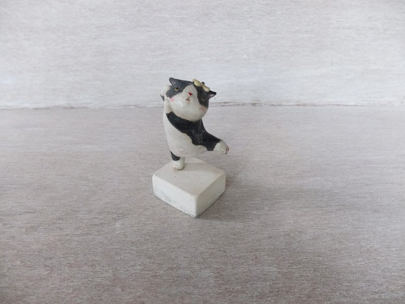 Cat - Dancing Cat - Black and White Cat Wearing Small Yellow Flowers - Large