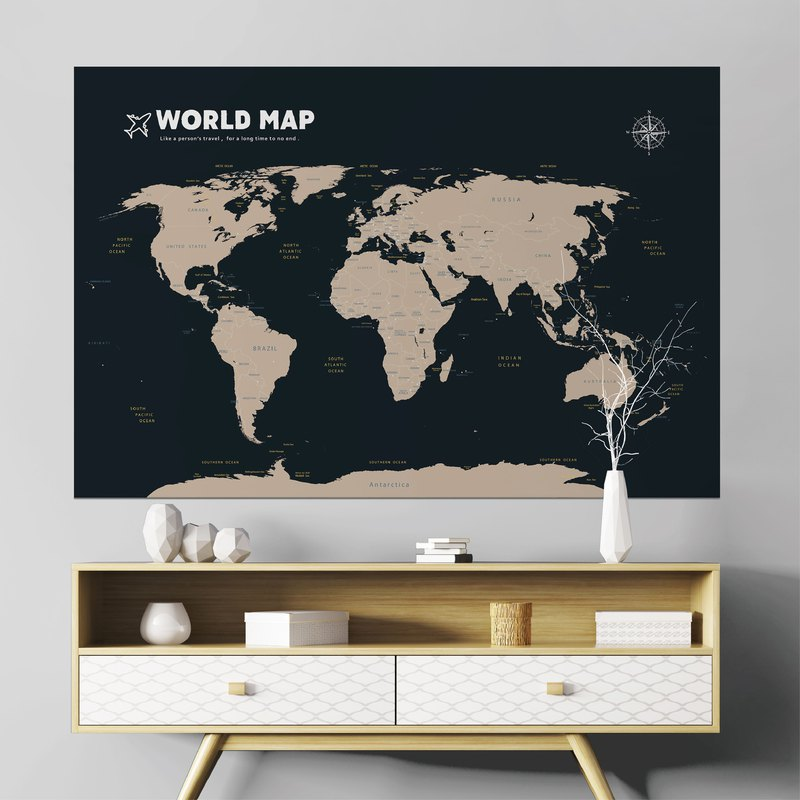World Map / Brown Back Blue - Easy Wall Stickers