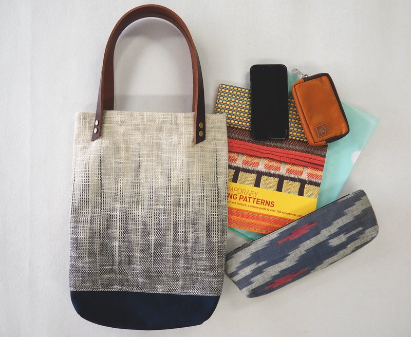 Natural dye handwoven fabric tote bag  (Beige)