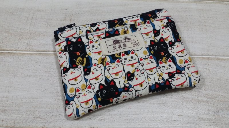 Blue Lucky Cat purse / storage bag / card package