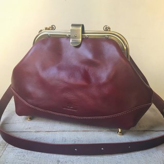 Tochigi leather made leather Namuguri shoulder bag castanea Marsala