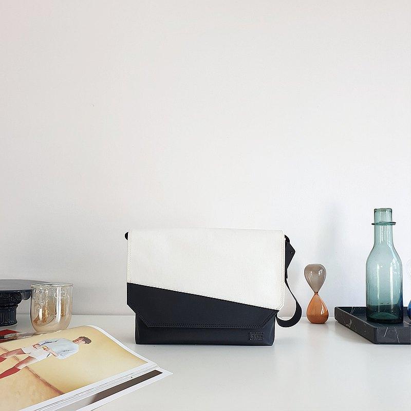 Laavin Messenger Bag尺寸L-白/黑色