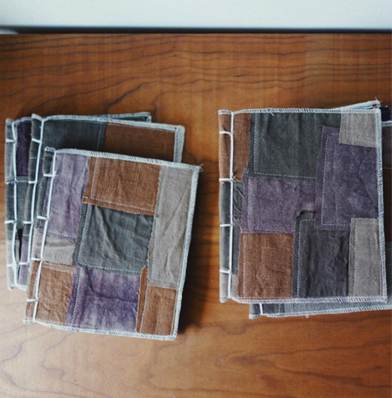 Brown plant dyed patchwork square hand made line notebook earthen cloth hand-woven canvas vintage custom hand account