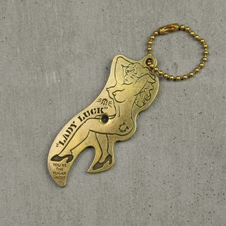 """Lady Luck"" Charm brass Nude Opener"