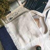 手作-中性簡約白棉線編織牛仔托特包