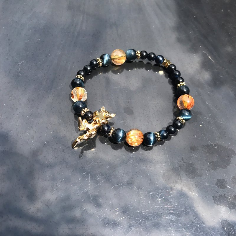 [Lost and find] natural stone titanium hair crystal blue tiger eye cat bracelet