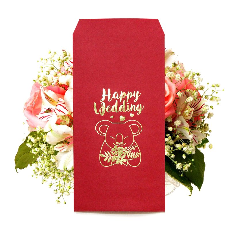 [The koala bear bouquet] hot stamping red envelope gift bag wedding red envelope Happy Wedding 3 into