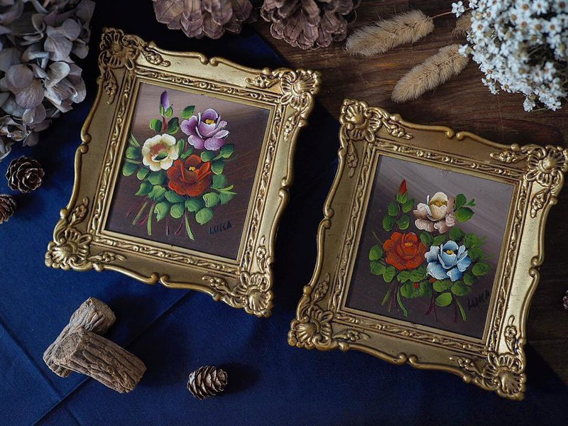 [Reserved] British flower authentic old oil painting pair
