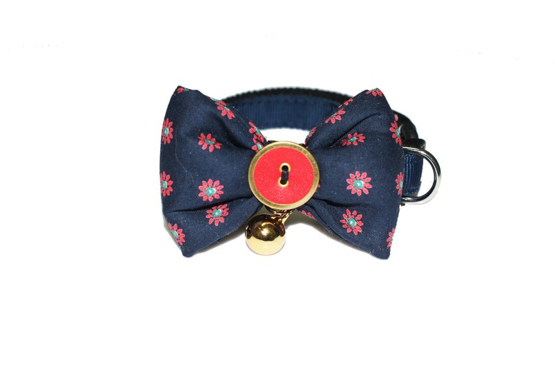 Pet Dog Collar Navy Red Bow Tie S~L