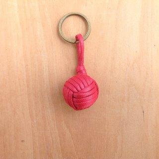 Monkey fistknot sailor key ring - cherry red