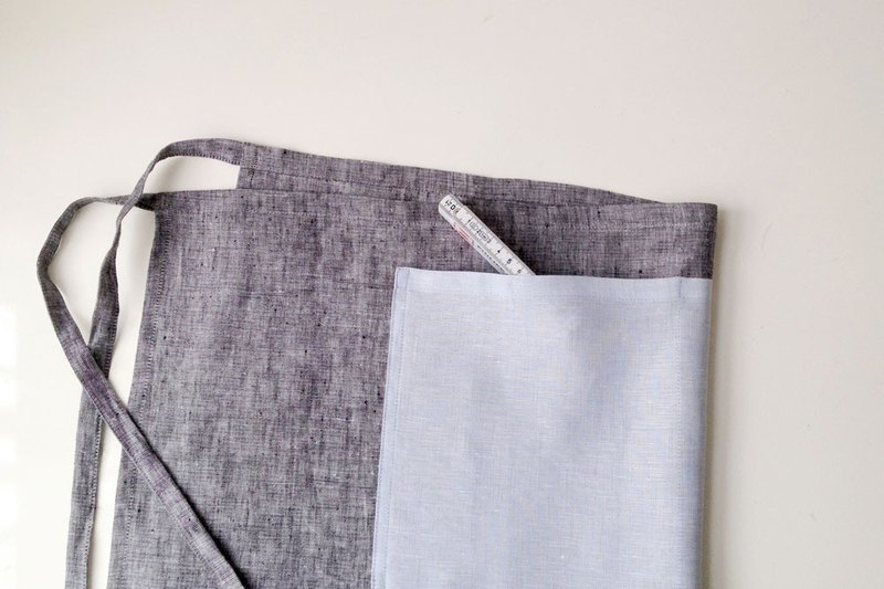 Blue Chambray Linen Pocket Apron