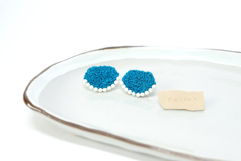 Popcorn Series - My Blueberry Night Embroidered Earrings Handmade Ear Pins / Ear Clips
