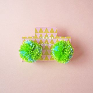 Handmade Earrings. handmade jewelry. yarn pompom
