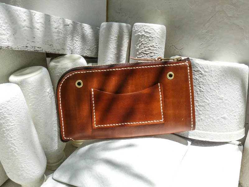 Do not hit the bag light coffee color vegetable tanned leather full leather universal wallet