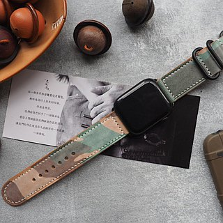 Apple Applewatch manual strap Italy imported wax yellow brown camouflage leather handmade design