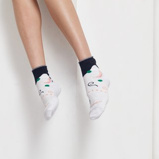[NEW] PEEK-A-BOO : Moon & Sun Off white | Socks | Mens Socks | Womens Socks | Colorful Socks | Fun Socks | Unique Socks | Patterned Socks | Inside-out Socks