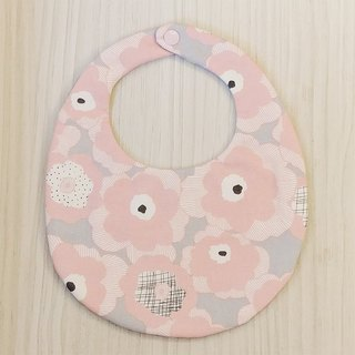 Pink flowers double-sided hand-made bibs / Miyuki gifts birthday gifts Christmas gifts