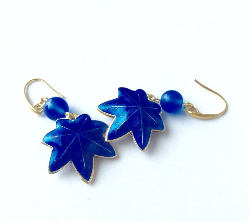 Meow ~ Handmade Maple Leaf Cloisonne Earrings / sapphire blue