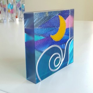 Healing art made with glass art  Tinker Bell Moon night2