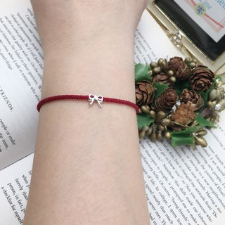 *Le Bonheur happy Line line*925 Silver Bow / red bracelet handmade custom jewelry braided rope surfing