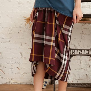 Lace-up half-length asymmetrical plaid A-word long skirt front short skirt - wine red plaid
