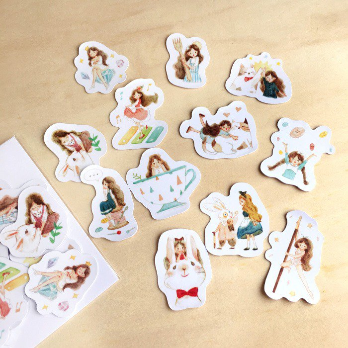 / Thumbelina Party / Waterproof Stickers/ 12pcs /