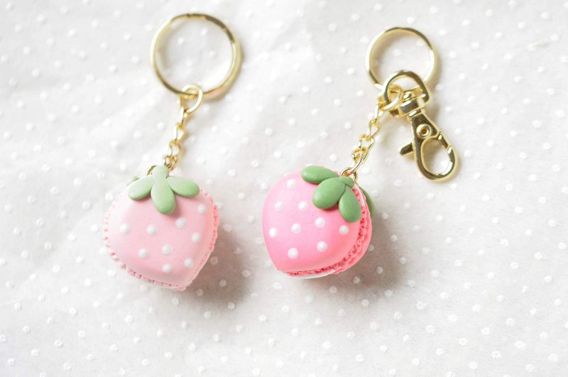 :│Sweet Dream│: pink strawberry shape macaron + key ring / bag ornaments / gifts
