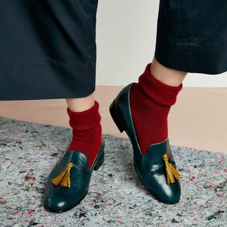 H THREE Fringe Loafers / Malachite Green / Flat / Loafer