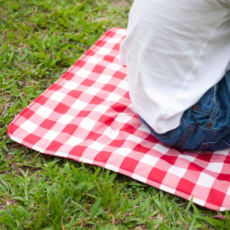 Classic American red and white check personal waterproof storage picnic cushion