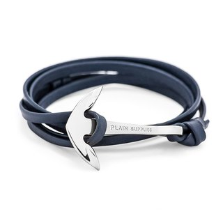 Silver Anchor Navy Leather Bracelet