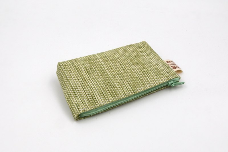 [Paper cloth home] paper line woven purse grass green