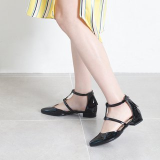 SPUR Ankle T strap FLATS MS9045 BLACK