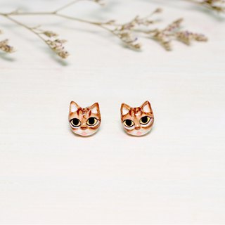 Brown Cat Earrings, Cat Stud Earrings, miniature cat, cat lover gifts