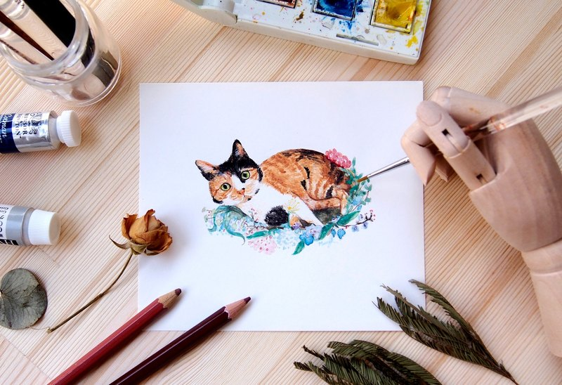 Customized Pet Flower Hand Painted Watercolor Illustration - A5 Size Full Body Frame